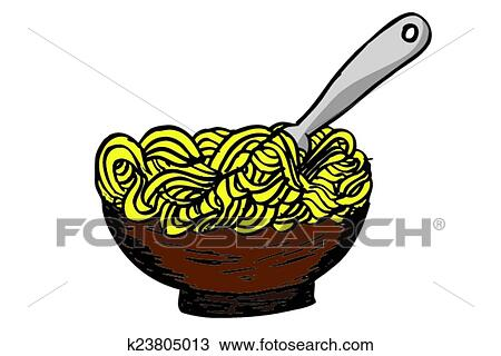 Clipart of doodle Noodle at bowl and Fork k23805013 ...