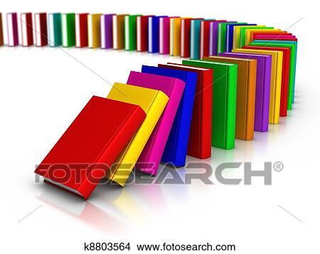 Bücherreihe clipart  Stock Foto - reihe, von, bunt, buecher, dominoeffekt k8803564 ...