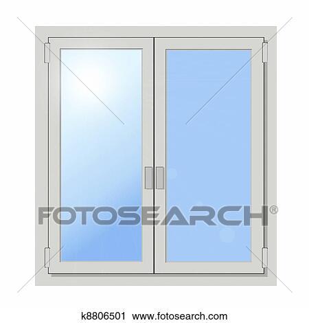 Fenster schließen clipart  Clipart - plastik, doppelte tür, fenster, freigestellt k8806501 ...
