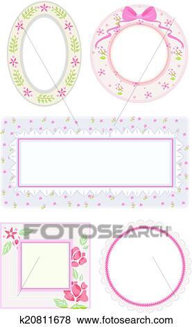 Clip Art Of Shabby Chic Frames K20811678