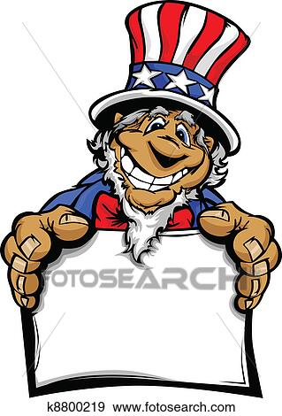 clip art of smiling cartoon uncle sam character k8800219 search rh fotosearch com uncle sam clip art free uncle sam clipart black and white