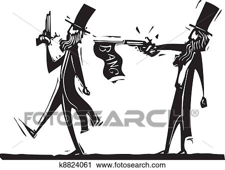 Clipart of Cheating Duel k8824061 - Search Clip Art, Illustration ...