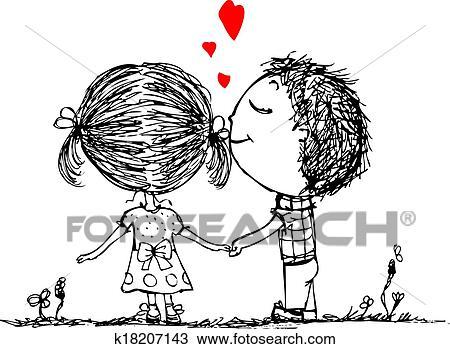 clipart couple amoureux ensemble valentin croquis pour ton conception k18207143. Black Bedroom Furniture Sets. Home Design Ideas