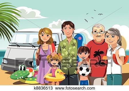 clipart - familie strand, urlaub k8836513 - suche clip art, illustration wandbilder, zeichnungen