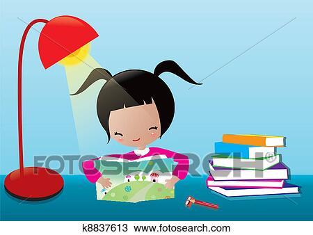 剪贴画 - 女孩阅读, 书