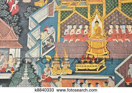 传统, 泰国人, 风格, 绘画, 艺术, 在, wat arun, 泰国