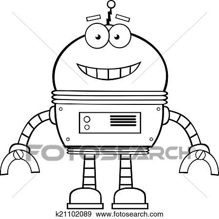 剪贴画 黑白, 微笑, 机器人