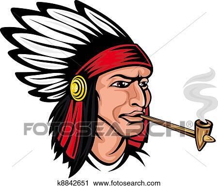 Clipart of Native american brave k8842651 - Search Clip ...