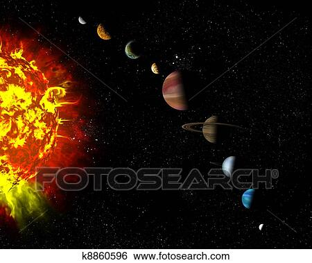 Stock illustration of illustrated diagram showing the order of illustrated diagram showing the order of planets in our solar system abstract illustration of planets in deep space ccuart Image collections