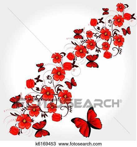 手绘图 - 红, 浪漫, 贺卡