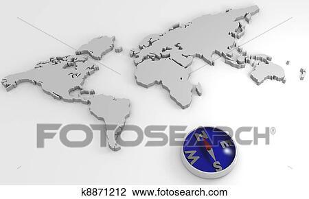 世界地图, 带, 指南针