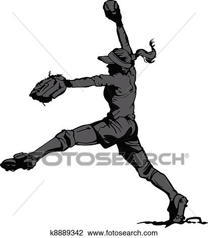 clipart of fast pitch softball pitcher k8889342 search clip art rh fotosearch com Softball Player Silhouette softball player clipart free