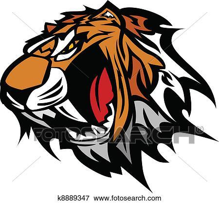 clip art of tiger mascot vector graphic k8889347 search clipart rh fotosearch com Tiger School Mascots Clip Art clemson tiger mascot clipart