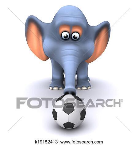 手绘图 - 3d, 象, 玩,