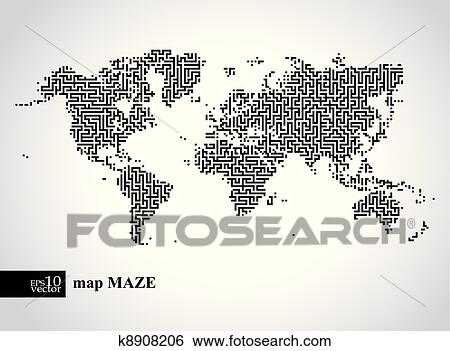 剪贴画 地球, 谜宫, 地图
