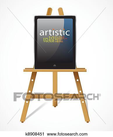 clipart chevalet pc tablette k8908451 recherchez des clip arts des illustrations des. Black Bedroom Furniture Sets. Home Design Ideas