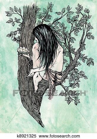 失量图库 - 很少, 森林, 淘气小鬼, 带, 百合花, 花.