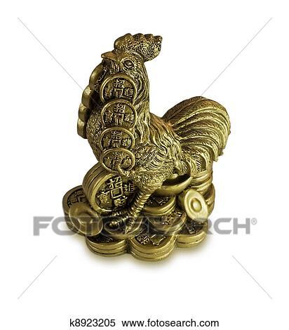 banque d 39 image chinois feng shui argent coq pour richesses k8923205 recherchez des. Black Bedroom Furniture Sets. Home Design Ideas