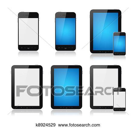 banque d 39 illustrations mobile intelligent t l phone pc tablette ensemble k8924529. Black Bedroom Furniture Sets. Home Design Ideas