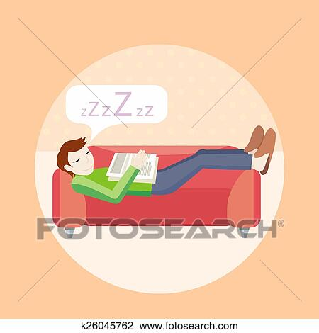 clipart mann schlafen auf sofa k26045762 suche clip art illustration wandbilder. Black Bedroom Furniture Sets. Home Design Ideas