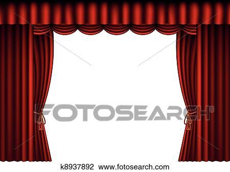 clipart rideaux rouges espace vide k8937892 recherchez des clip arts des illustrations. Black Bedroom Furniture Sets. Home Design Ideas