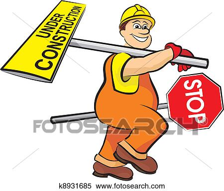 clipart of smiling road worker k8931685 search clip art rh fotosearch com work clipart work clipart