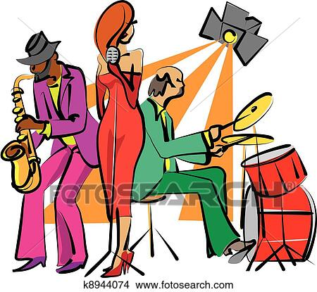 clipart of jazz band playing on the stage k8944074 search clip art rh fotosearch com jazz instrument clipart jazz clip art free