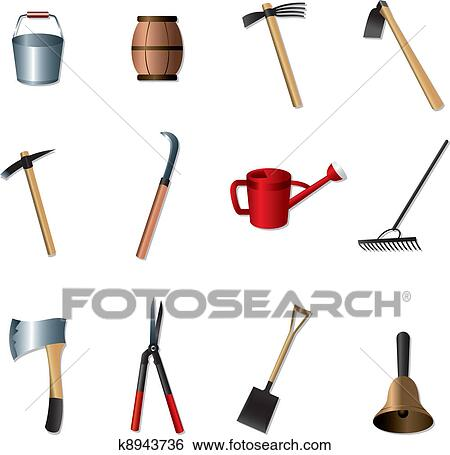 Clip art of set of gardening tools k8943736 search for Gardening tools clipart