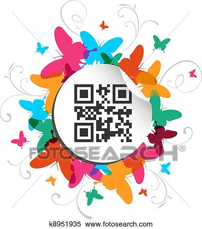 clipart of happy butterfly spring time with qr code label k8951935 rh fotosearch com spring time clipart pictures spring time clipart pictures