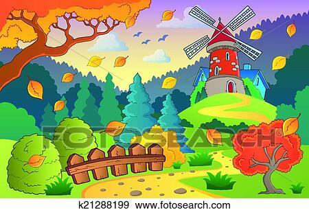 剪贴画 秋天风景, 带, 风车, 1
