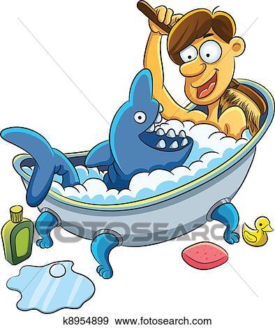 clipart homme prendre bain k8954899 recherchez des cliparts des illustrations des dessins. Black Bedroom Furniture Sets. Home Design Ideas