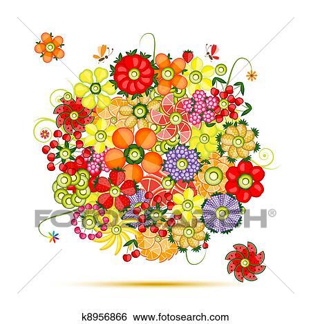 Clip art floreale bouquet fiori fatto da frutte for Kiwi giallo piante acquisto