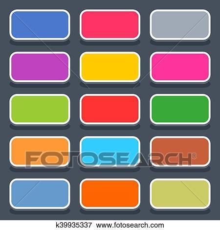 剪贴画 - 套间, 空白, 网, 按钮, 圆形, 长方形, 图标.图片