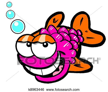 Stock Illustration of Laughing fish cartoon.WBG k8963446 - Search Clip Art, Drawings ...