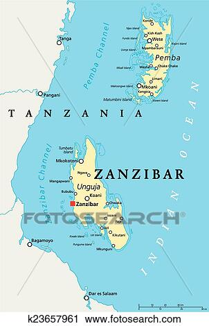 Clipart of Zanzibar Political Map k23657961 Search Clip Art