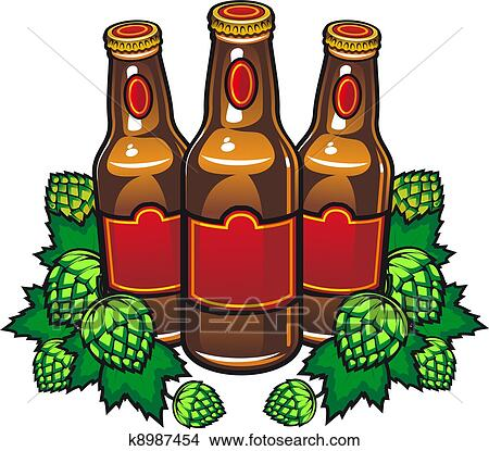 clipart of beer bottles and hop k8987454 search clip art rh fotosearch com beer bottle clipart png beer bottle clip art free