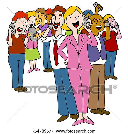 clip art of crowd of people using phones k54789577 search clipart rh fotosearch com crown clip art black and white crown clip art images