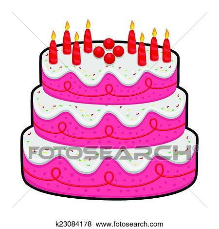 Clip Art of Three Layer Birthday Cake k23084178 - Search ...