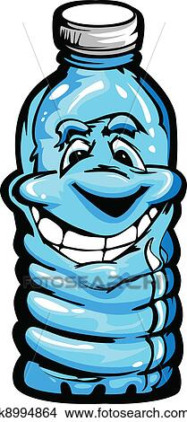 Clipart of Happy Cartoon Plastic Water Bottle k8994864 ...