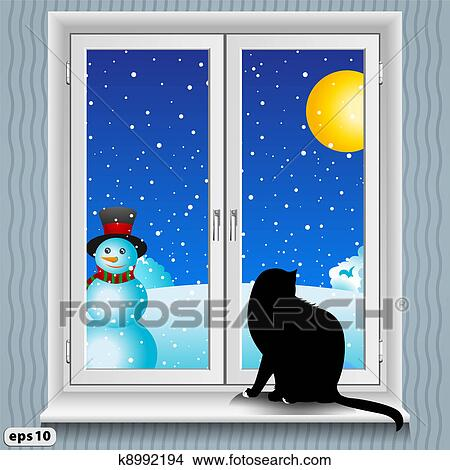 Clipart finestra e gatto inverno k8992194 cerca for Il gatto inverno