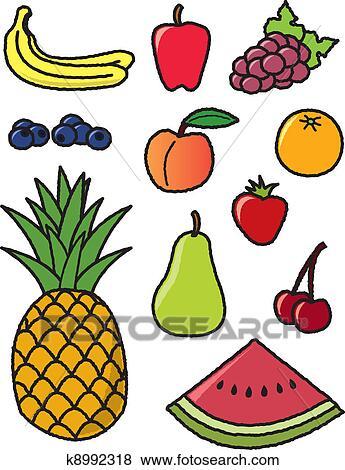 Clip Art Of Eleven Common Fruits K8992318 - Search Clipart ...