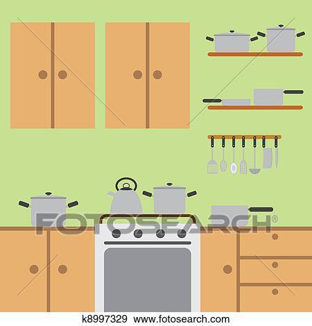 클립아트 - 부엌, room. k8997329 - 클립아트, 일러스트레이션 포스터 ...
