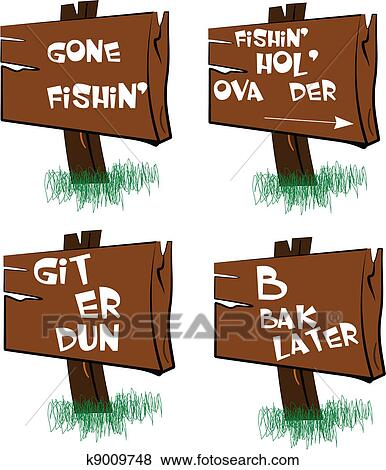 clip art of gone fishing signs k9009748 search clipart rh fotosearch com Clip Art Fishing Sign gone fishing sign clip art