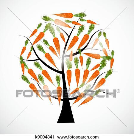 Clipart carotte arbre vecteur illustration isol - Arbre a carotte ...