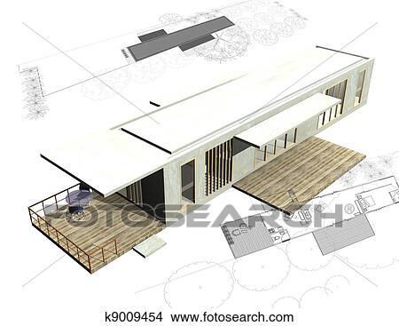 Dessins logement architecture plans 3d structure for Dessin batiment 3d
