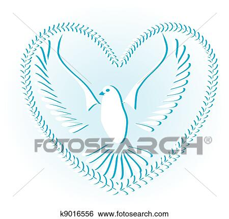 Clip Art Of Dove Symbol Of Peace And Freedom K9016556 Search