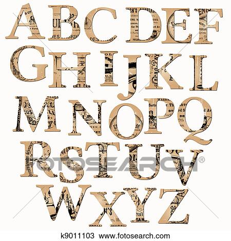 Clipart Of Vintage Alphabet Based On Old Newspaper And Notes