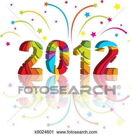 剪贴画 - 新年, 2012, 在中, 色彩丰富, 背景;, design.图片