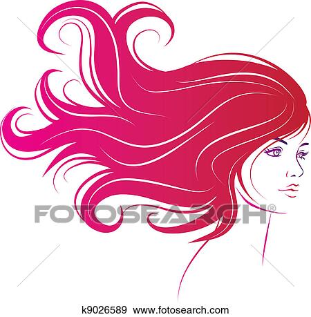 Clip Art Clip Art Hair Design clip art of hair style beauty element vector salon k6528639 woman face with long black hair