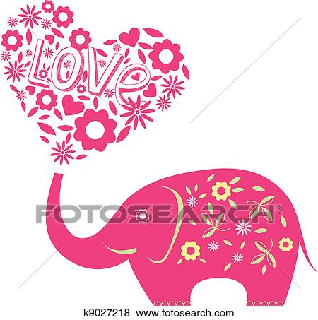 Clip Art of Abstract vector illustration with elephant ...